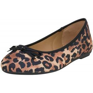 Fitters Footwear That Fits Damen Ballerina Roberta Microfibre Ballerinas mit Leo-Print Übergröße EU Schuhe & Handtaschen