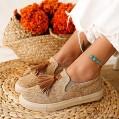 Frauen Slipper Frauen Casual Anti-Rutsch-Slip-On Low Top Flache Quaste Leinwand Slipper Wanderschuhe Schuhe & Handtaschen