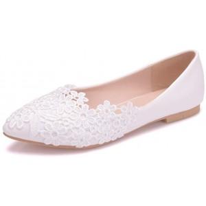 Hochzeitsschuhe Brautschuhe Flache Spitzenschuhe Aus Elfenbeinfarbenem Spitzenleder Spitze Damen Pumps Schuhe & Handtaschen