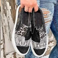 Hwcpadkj Damen Slipper Stoff Schuhe Sneakers Flache Neigung mit Leinwand Schlangenmuster Leopardenmuster Farbanpassung elastisch Freizeitstrand Schuh Schuhe & Handtaschen