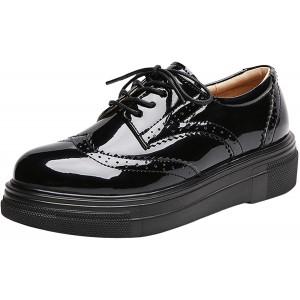 PPXID Damen Halbschuhe Schwarz Schnürschuhe Lack Brogues Keilabsatz 4.5CM Sneaker Schuhe & Handtaschen