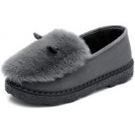 Youpin Winter-Mokassins Damenschuhe locker warm flach für Damen Slipper kurz Plüsch rutschfest für Damen Walking-Schuhe Farbe Dunkelgrau2 Schuhgröße 9 Schuhe & Handtaschen