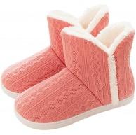 GILKUO Hausstiefel Damen Herren Plüsch Warm Gefüttert Hausschuhe Feste Sohle Strick Slipper Schuhe & Handtaschen