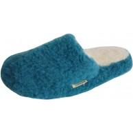 SamWo Schafwoll-Wohlfühl-Hausschuhe Pantoffeln Unisex weiche rutschfeste Sohle 100% Schafwolle Petrol Schuhe & Handtaschen