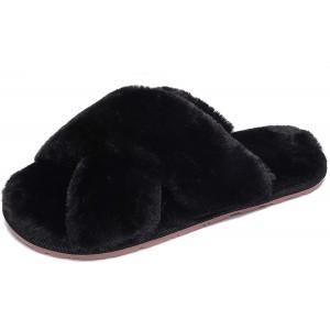 SMajong Damen Plüsch Hausschuhe Flauschige Fell Pantoffeln Bequem Indoor Outdoor Slippers Mode Elegant Hausschuhe Schuhe & Handtaschen