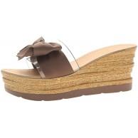 Sommer Frauen Zuhause Keil Hausschuhe Plattform Bogen Transparente Hausschuhe Strand Slipper Schuhe & Handtaschen