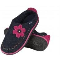 soxo Filzpantoffeln | Marineblaue Hausschuhe mit bunten Mustern für Frauen | Bequeme Filz Pantoffeln | Winter Filzhausschuhe in vielen Größen Schuhe & Handtaschen