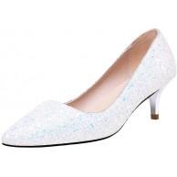 Femany Damen Kitten Heels Pumps mit Glitzer Absatz Hochzeit Brautschuhe Schuhe & Handtaschen