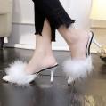 Frauen Mode High Heel Slipper Rutschfeste Damen Pump Microfibre Pumps mit Blockabsatz Übergröße Damen-Sandalen mit Fuchspelz und Feder Damen Stiletto Sandalen Women's Open Toe Sandal Schuhe & Handtaschen