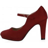 Giralin Damen Pumps Mary Janes Blockabsatz High Heels T-Strap Schuhe & Handtaschen