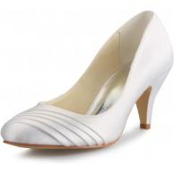 JIA JIA 5949415 Damen Brautschuhe Geschlossene Zehe Mittlere Ferse Satin Pumps Rüschen Hochzeitsschuhe Schuhe & Handtaschen