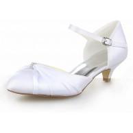 JIA JIA Damen Brautschuhe 01117 Peep Toe Niedrige Ferse Satin Pumps Strass Hochzeitsschuhe Schuhe & Handtaschen