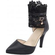 MISSUIT Damen Knöchelriemchen Pumps Stiletto High Heels mit Spitze und Reißverschluss Geschlossene Schuhe Schuhe & Handtaschen