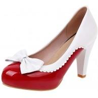MISSUIT Damen Plateau High Heels Lack Pumps Blockabsatz Schleife Geschlossen Rockabilly Schuhe Schuhe & Handtaschen