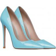 QSMGRBGZ High Heels Mode Sexy Pumps Stiletto Patentleder Einzelne Schuhe 12cm Spitze Weibliche High Heel Slide-In Blau 35 EU Schuhe & Handtaschen