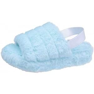 AGGF Damen Fluff Slide Slipper Plüsch Slingback Sandalen Open Toe Kunstpelz House Slide Sandalen Bequeme Flache Schuhe mit elastischem Riemen Schuhe & Handtaschen
