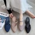 AGGF Flat Slider Sandalen Ladies Slip Frauen mit halben Hausschuhen und Hangabsatz-Khaki 40 Bequeme Flache Wandersandalen für Damen Schuhe & Handtaschen