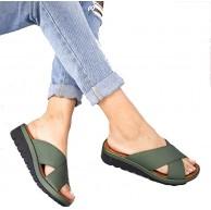 AGGF Ladies Fashion Platform Slide Sandalen Sommer Outdoor Open Toe Sandalen Handmade Wedges Freundin und Mutter Farbe Gold Größe 35 Schuhe & Handtaschen