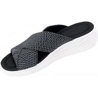 AGGF Stretch Cross Orthotic Slide Sandalen Slides Sandalen für Frauen Casual Flip Flops rutschfeste Plateau Hausschuhe Beach Comfort und Support Sandalen für Frauen Schuhe & Handtaschen