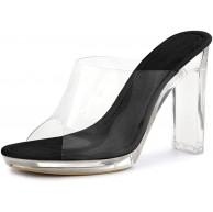 Allegra K Damen Peep Toe Blockabsatz Panel Klar Slingback High Heels Sandalen Schuhe & Handtaschen