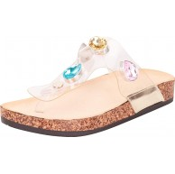 Cambridge Select Women's Thong Toe Clear Crystal Rhinestone Slip-On Flat Slide Sandal 6.5 BM US Gold Schuhe & Handtaschen