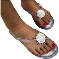 JFFFFWI Damen Slide Sandalen Lässig Sommer Blumen Perlen Flache Sandalen Open Toe Slip On Platform Schuhe Flip Flops Schuhe & Handtaschen