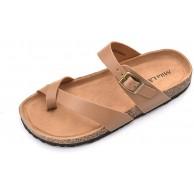 Mila Lady Damen Sommer Bequeme Riemchen-Flip-Flops Kork-Sohle Slide Flache Slipper Sandalen Beige nude 40 EU Schuhe & Handtaschen