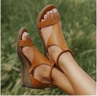 XXZ Damen Plateau Sandaletten Wedge Open Toe Platform Sandalen Flache Bequeme elastische Schuhe & Handtaschen