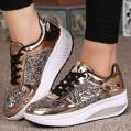 DOLDOA Damen Stiefel Damen Wedges Sneakers Pailletten Shake Schuhe Mode Mädchen Sportschuhe Keilsohlen mit farblich Spiegelplattformen Gold Schuhe & Handtaschen