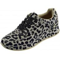 HDUFGJ Sneaker Damen Laufschuhe Sportschuhe Fitness Schnüren Drucken Leopard Herren Turnschuhe Erhöhen Sie die Höhe Schuhe & Handtaschen