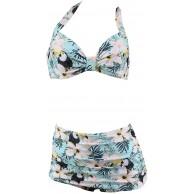 Aloha-Beachwear Tiki Hawaii Tukan Papagei Rockabilly Flower Hibiskus Vintage Damen Bikini A10255 Bekleidung