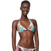 Desigual Damen Swimwear Triangle Leopard Woman White Bikinioberteil Weiß Blanco 1000 L Bekleidung