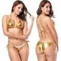 IWEMEK Damen Metallic Glänzend Micro Mini Bikini Push Up Set Sexy Dessous Wetlook BH String Unterwäsche Badeanzug Bademode Reizwäsche Neckholder Schwimmanzug Badebekleidung Gold Bekleidung