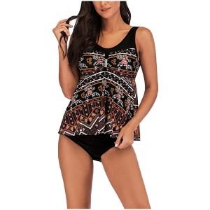 Lazzboy Damen 2pcs Frauen Blumendruck übergröße Bikini Set Sommer Tankini Kleid Badeanzug Beachwear Badeanzüge Strand Badekleider Plus Größe Badebekleidungs Bekleidung