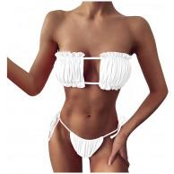 N-P Damen Bikini Set Zweiteiliges Beachwear Halfter Sexy Split Badeanzug Bikini Mini Tanga Shorts Set Damen Tube Top Niedrige Taille Beach Wear Set Bekleidung