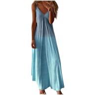 Orgrul Damen Sommer Maxikleid Farbverlauf Ärmelloses Freizeitkleid V-Ausschnitt Sexy Cami Langes Kleid Bekleidung