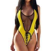 QingJiu Damen Bademode Beachwear Solid Hollow 1 Stück Bikini Badeanzug Badeanzug Bekleidung