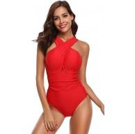 SHEKINI Damen Einteiliger Badeanzug Neckholder Monokini Schwimmanzug Bedruckter Halter Tiefer V-Ausschnitt Rückenfrei Hohe Taille Gepolstert Badeanzüge Bekleidung