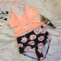 YEBIRAL Damen Bademode Push Up Bikini Set Sport Zweiteilige Badeanzug Strandkleidung Crossover Neckholder Bikini Oberteil Mit High Waist Blumen Bikinihose Bekleidung