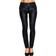 Damen Bootcut Hose Leder-Optik Skinny 428 Bekleidung
