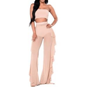 Eghunooye Transparente Hosen Damen High Waist Lange Hosen Beach Mesh Strandhosen Cover Up mit Ruffle Weites Bein Hose Freizeithose Bekleidung