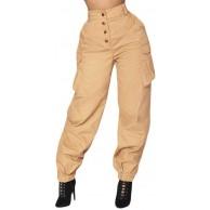Fannyfuny Damen Lang Hose Elegant High Waist Military Hose Casual Camo Cargo Hose mit Taschen Reißverschluss Freizeithosen Mädchen Military Ausgehen Slim Fit Bekleidung