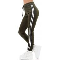 Jela London Damen Velour Jogginghose Hoher Bund High-Waist Streifen Nicki Samt Bekleidung