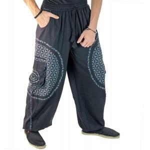 KUNST UND MAGIE Unisex Trendige Baggyhose Bunte Muster Lebensblume Goa Hippiehose Bekleidung