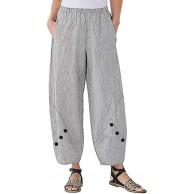 Lazzboy Plus Size Frauen Hohe Taille Streifen Knopf Weites Bein Hosen Lose Weiten Hose Haremshose Tasche Baumwolle Leinen Neunte Bekleidung