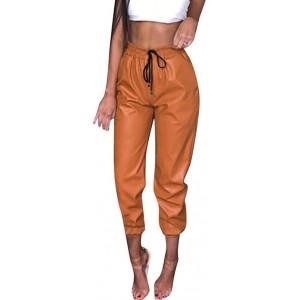 Riou Damen Leder Leggins Schwarz Glänzend Kunstleder Sexy High Waist Stretch Skinny mit Taschen Capri Hose Bekleidung
