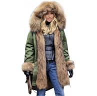 Lea Marie Parka XXL Kragen aus 100% ECHTPELZ ECHTFELL Jacke Mantel Kaninchen Fütterung Fellblende Bekleidung
