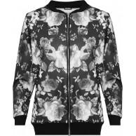 WearAll Damen Übergröße Blumen Bomber Jacke Dames Top Rose Print Langarm Zip Stretch - 42-56 Bekleidung
