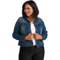 Zizzi Damen Große Größen Denim Jacke mit Knöpfen und Kragen Gr 42-56 Bekleidung