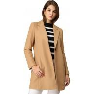 Allegra K Damen Langarm Revers Einreiher Trenchcoat Mantel Bekleidung
